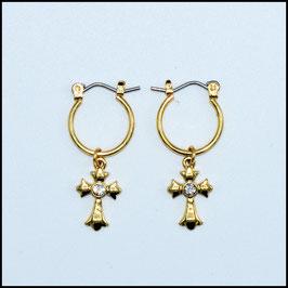 Gold hoop earrings cross