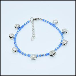 Silver bell anklet - blue
