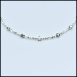 Tibetan beads necklace - Silver