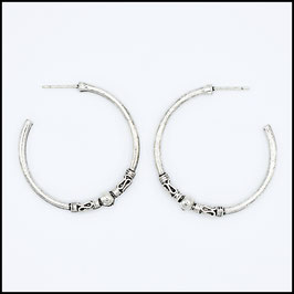 Silver bohemian open hoop earrings model 3