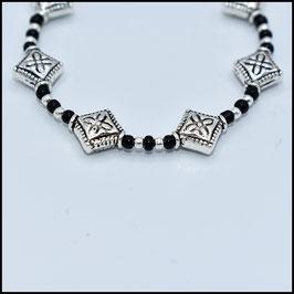 Silver rhomb bracelet - Black