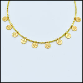 Decuple small coin necklace - gold