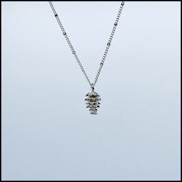 Silver necklace with pine cone