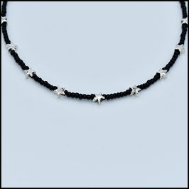 Mini silver star choker - Black