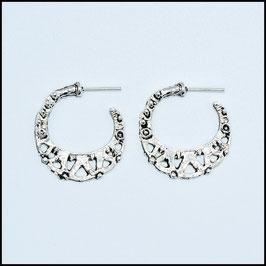 Silver vintage open hoop earrings model 6