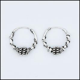 Silver bohemian hoop earrings model 2