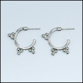 Silver vintage open hoop earrings model 7