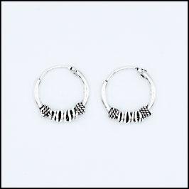 Silver bohemian hoop earrings model 14