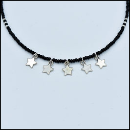 Five star necklace - Black