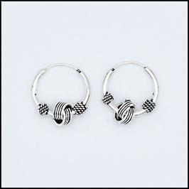 Silver bohemian hoop earrings model 17