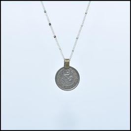 Silver necklace with vintage coin