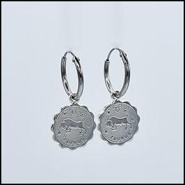 Silver hoop earrings vintage charm