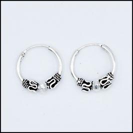 Silver bohemian hoop earrings model 1