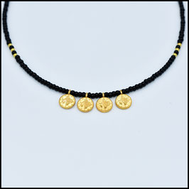 Quadruple small gold coin necklace - Black