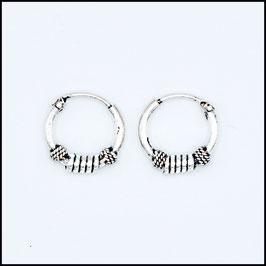 Silver bohemian hoop earrings model 12