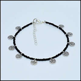 Silver small coin anklet - black