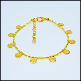 Gold small coin anklet - gold