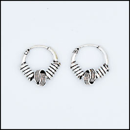 Silver bohemian hoop earrings model 15