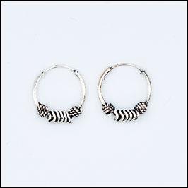 Silver bohemian hoop earrings model 9