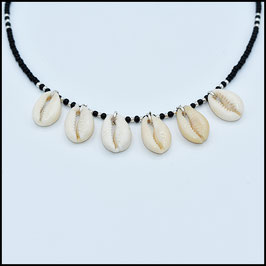 Sextuple shell necklace - black
