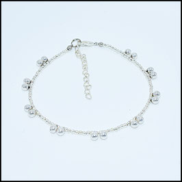 Silver ball anklet - silver