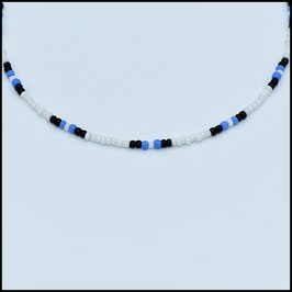 Beads choker - White/black/blue