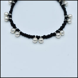 Silver ball bracelet - Black