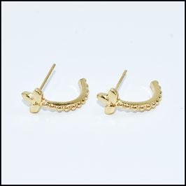 Open hoop earrings ribbed lis - gold