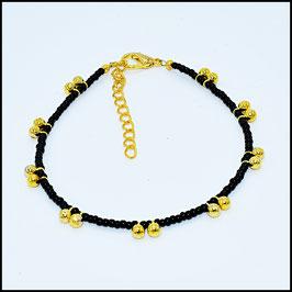 Gold ball anklet - black