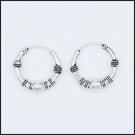Silver bohemian hoop earrings model 3
