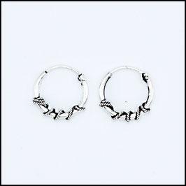 Silver bohemian hoop earrings model 13