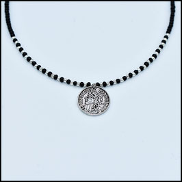 One coin necklace - Black