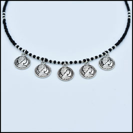 Quintuple silver coin necklace - Black