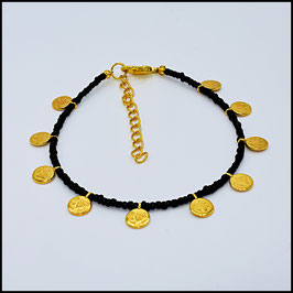 Gold small coin anklet - black