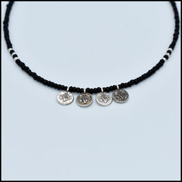 Quadruple small silver coin necklace - Black