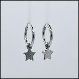 Silver hoop earrings star