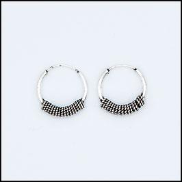 Silver bohemian hoop earrings model 16