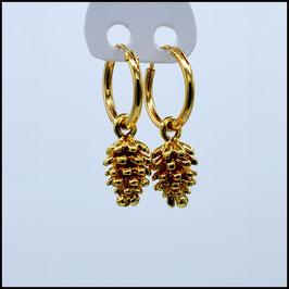 Gold hoop earrings pine cone