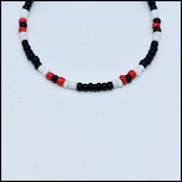 Beads bracelet - Black/white/red