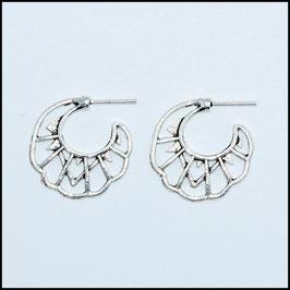 Silver vintage open hoop earrings model 5