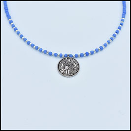 One coin necklace - Blue
