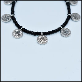 Silver small coin bracelet - Black