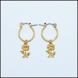 Gold hoop earrings rose