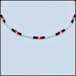 Beads choker - White/black/red