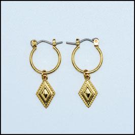 Gold hoop earrings rhomb