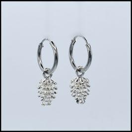 Silver hoop earrings pine cone