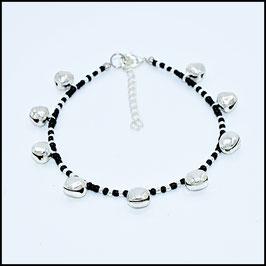 Silver bell anklet - black