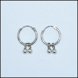 Silver hoop earrings ball