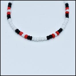 Beads bracelet - White/black/red