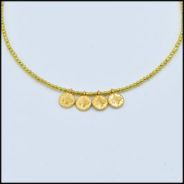 Quadruple small gold coin necklace - Gold